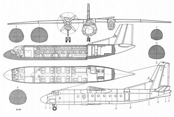 ан 24 схема самолета — ан 24