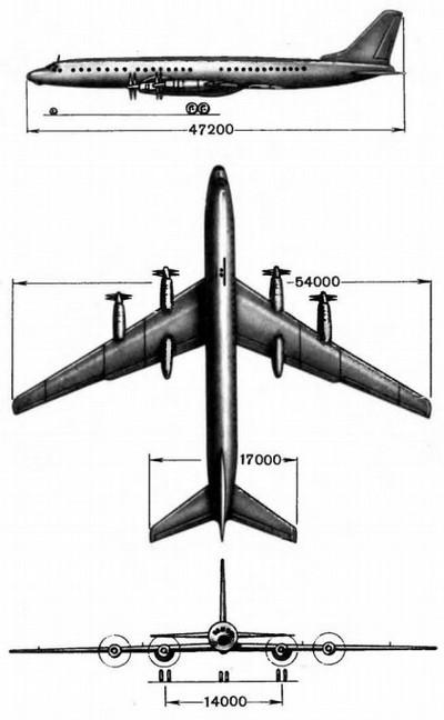 По схеме самолёт Ту-114